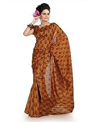 Designersareez Women Bhagalpuri Silk Printed Deep Mustard Saree With Unstitched Blouse(1006)