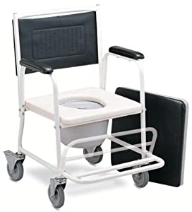 Medmobile Shower and Commode Wheelchair With Folding Footrest and Locking Castors for Juniors and Petite Adults