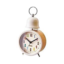 Inter-form table clock Kurearo Crearo woodgrain alarm Ivory CL-1276