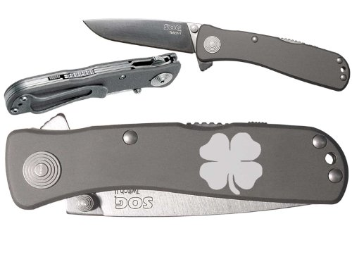 4 Leaf Clover Irish Custom Engraved Sog Twitch Ii Twi-8 Assisted Folding Pocket Knife By Ndz Performance