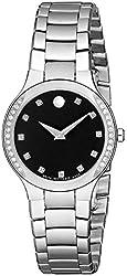 Movado Women's 0606491 Serio Stainless Steel Black Diamond Marker Museum Dial Watch