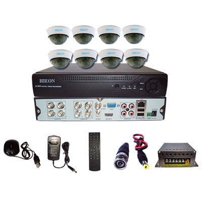 Hieon H8chd 8-Channel Dome Camera(8 cameras, 8 DVR Kits, Mouse, Remote, Cable, AV Pin, SMPS)