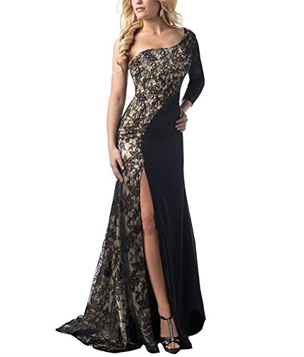 Huafeiwude Womens Sexy Lace Front Split One-Shoulder Evening Prom Dresses Black US 18 (Split Front Prom Dress compare prices)
