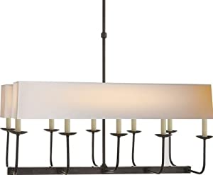 Beautiful Visual Comfort SLBZNP Studio Sandy Chapman Light Linear Branched Chandelier in Bronze with Natural Paper