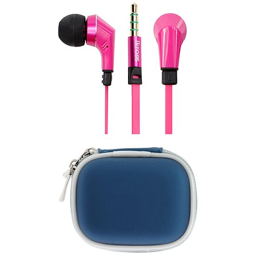 Ikross Hot Pink / Black In-Ear 3.5Mm Noise-Isolation Stereo Earphones With Handsfree Microphone Headset + Blue Headset Carrying Pouch Case For Dell Xps 12 Ultrabook, Venue 8 (2014), Venue 7 (2014), Venue 8, Venue 7, Venue 11