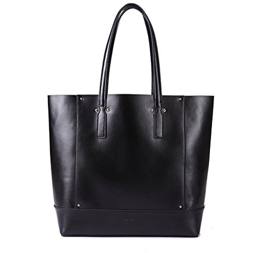 Borsa donna shopping bag a spalla in vera pelle Shopper con interno staccabile DUDU Nero