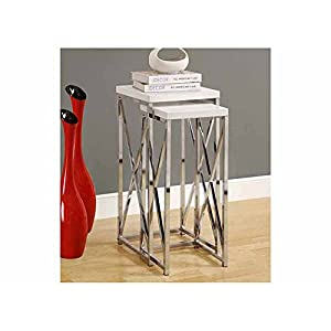 Monarch Specialties 2-Piece Metal Plant Stand Set, Glossy White/Chrome