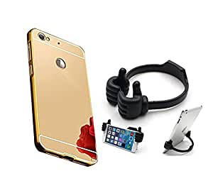 Aart Luxury Metal Bumper + Acrylic Mirror Back Cover Case for Redmi 3S Prime By Aart Store + Flexible Portable Mount Cradle Ok Stand For Smartphones And Tablets by Aart Store.