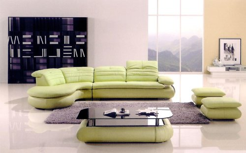 5pc Modern Sectional Leather Sofa Set #AM-L288-GN