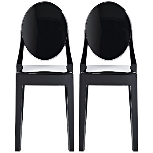 2xhome - Set of 2 (2 Chairs in total!), Black, Victoria Style Ghost Side Chairs - High Quality Dining Room Chairs - Victorian Accent Seat - Lounge No Arm Arms Armless Less Chairs Seats Higher Fine Modern Designer Artistic Classic Molded Contemporary Poly-carbonate Plastic