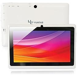 Yuntab 7 pollici HD quad-core Android 4.4 KitKat Google Tablet PC, Allwinner A33, flash di 8GB NAND doppia fotocamera 1024x600 schermo multi-touch, Google Play preinstallato, Bianco