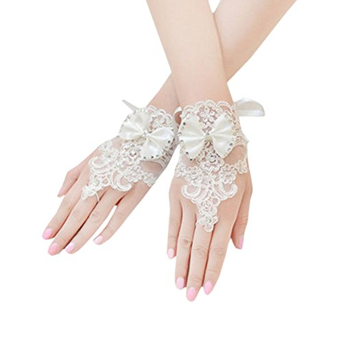 Vimans Girl's Short Off White Lace Bowknot Evening Gloves for Wedding Party