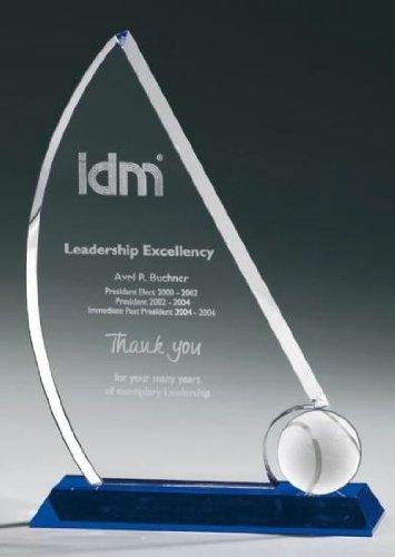 Tennis Sail Award, Kristall Glas - Trophäe, Typ:210 mm