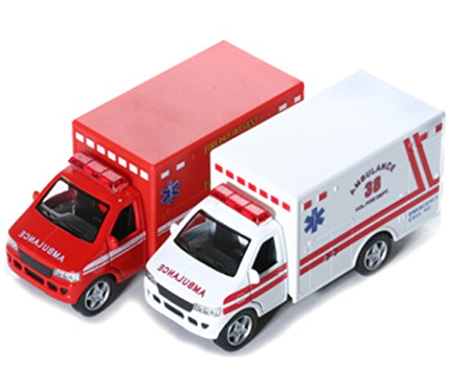 "KINSFUN DISPLAY RESCUE TEAM 5"" Ambulance and fire department truck 2pc set"