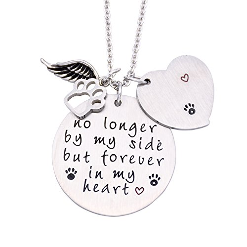 O.RIYA Loss of Pet Necklace, Dog Cat Hand Stamped Jewelry, Pet Memorial Necklace (Service Dog Tote compare prices)