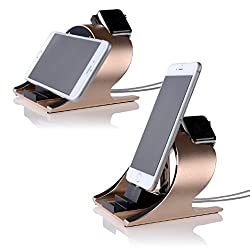 Apple Watch Stand and iPhone 6s Stand,Thankscase Rotating Stand for the Apple Watch,iPhone 6s plus,iPhone 6,iPad Air and iPad mini by Aluminium,Apple Watch Rotating Stand,Apple Watch Dock,Apple Watch Station and iPhone Stand.(Gold)