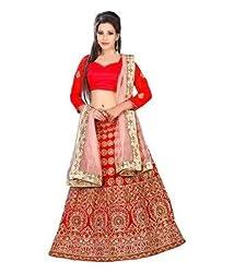 Pramukh Group Red Banglory Silk Zari Embroidered Lehenga Choli