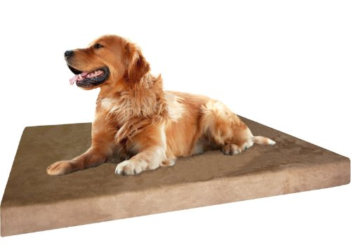 Dog Bed: SPX Orthopedic Grade Extra Large Brown Microsuede Waterproof Full Memory Foam Pad Dog Pet Bed 40 inches X 35 inches with 4 inches thick + Free Bonus Cover