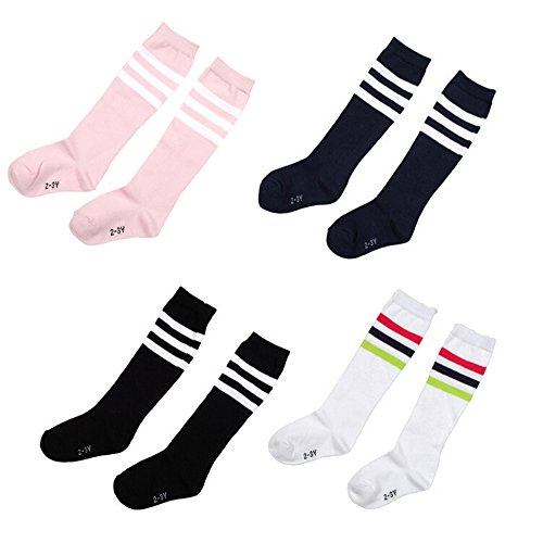 Natuworld Pack of 4 Children Girls Boys Toddlers Cotton Thicken Knee Long Soccer Socks Team Socks for 4-5 Years Old Kids(diffrent color)