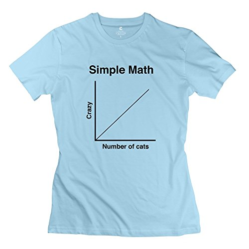 Ihoo Women Simple Math Crazy Cats T-Shirts Xs Skyblue