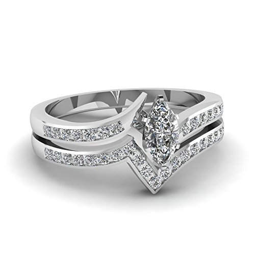 Fascinating Diamonds 1.1 Ct Marquise Cut Gia Diamond Twisted Edge Wedding Rings Set D-Color