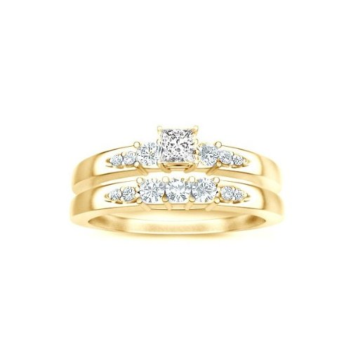 0.58 Carat Princess Cut Diamond Bridal Set On 10K Yellow Gold