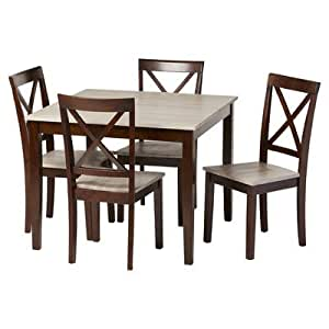 5 Piece Dining Room Table Set Espresso Rustic Modern Furniture