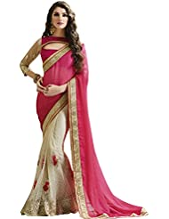 Attractive Pink & Off-White Embroidered Saree