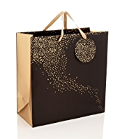 Black & Gold Speckled Large Gift Bag