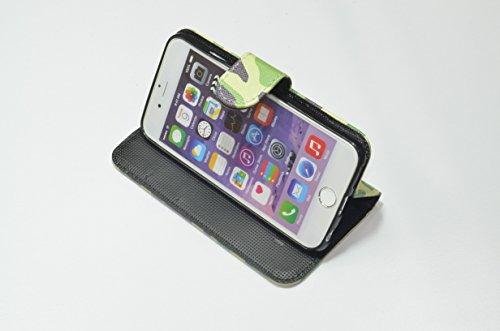 迷彩柄手帳型ケース iphone6,6Sプラス パステルグリーン 683854