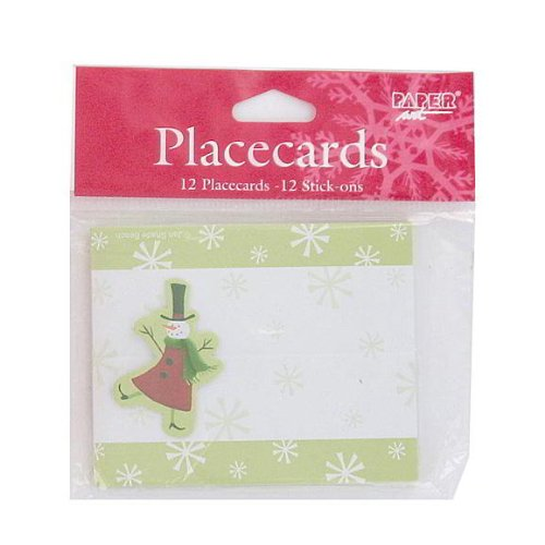 144 Christmas snowman place cards; pack of 12