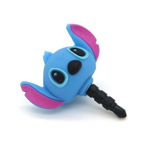 Silvercon - 3D Blue Stitch 3.5Mm Headphone Anti-Dust Plug Cap With Silvercon Unversial Cord Winder
