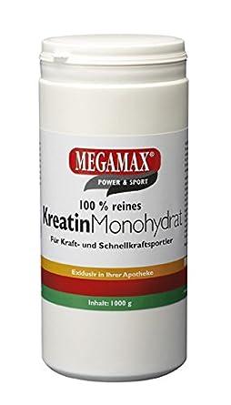 Megamax Kreatin Monohydrat (creatine). Fur Muskelaufbau und Kraftsteigerung. Inhalt: 1 Kg Pulver