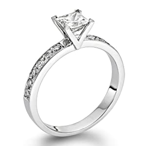 Diamond Engagement Ring 1/2 ct, J Color, VS2 Clarity, Certified, Princess Cut, in 14K Gold / White
