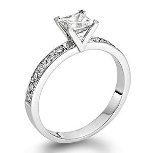 Zertifikat Klassischer 18 Karat (750) Weißgold Damen - Diamant Ring Princess 0.72 Karat D-SI1 (Ringgröße 48-63)