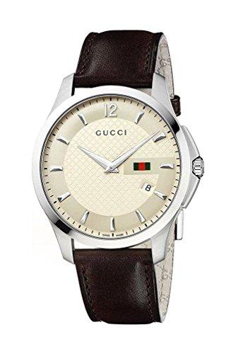 Gucci Homme Montre Ya126303 Analogique Cuir Brassard Quartz