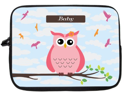 "10 Inch Rikki Knighttm ""Baby"" Name - Cute Pink Owl On Branch With Personalized Name Laptop Sleeve - Ideal For Ipad 2,3,4, Ipad Air, Galaxy Note, Small Notebooks And Other Tablets front-601322"