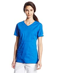 Cherokee Women's Workwear Scrubs Core Stretch Jr. Fit V-Neck Top, Royal, X-Small
