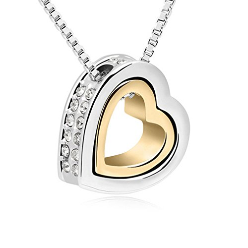 G&T Dual Heart Pendant Inlay Austria crystal Eternal Love Clavicle Chain Pendant Necklace(C1)