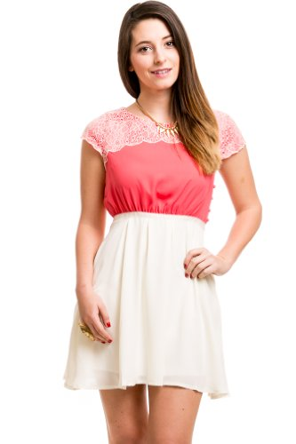 Lace Panel Color Block Dress In Pink/White