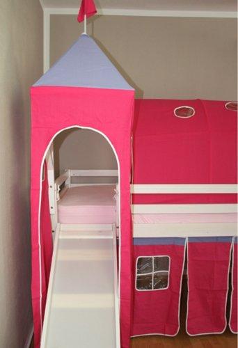 lit enfant toboggan et tour superposé mezzanine blanc avec rideau rose/rouge -PEGANE-