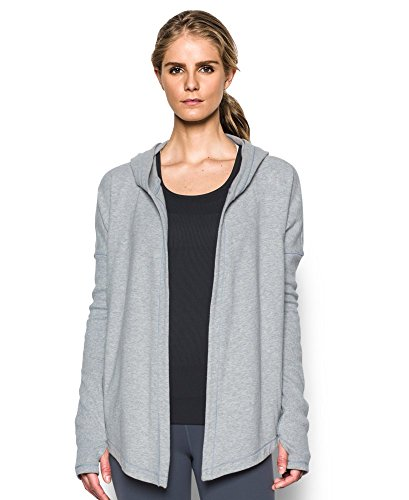 Under Armour Women's Modern Terry Open Front Cardigan, True Gray Heather (025), Large