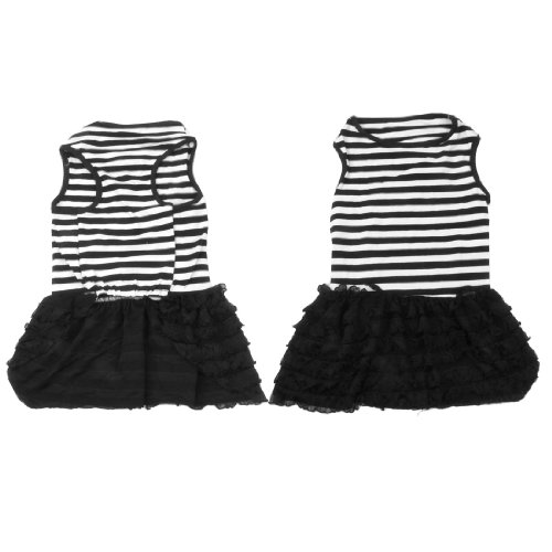 Lace Decor Chihuahua Pet Dog Puppy Summer Apparel Clothes Black White L front-859478