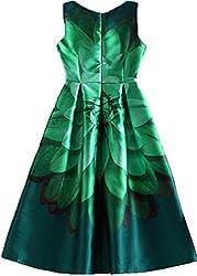 hk fashion satin fabrics digital print green flowers western dress