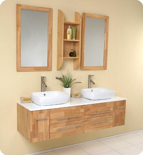 Natural Wood Modern Double Vessel Sink Bathroom Vanity FVN6119NW: 59