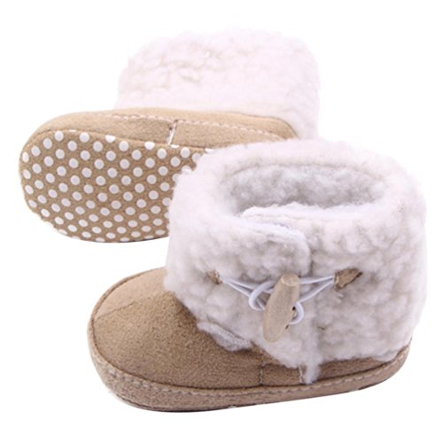 DZT1968® Baby Toddler Soft Sole Anti Slip Prewalker Sneakers Snow Boots Shoes (S (6~9 months), Khaki)