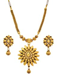 JFL - Traditional And Ethnic One Gram Gold Plated Designer Necklace Set / Jewellery Set For Girls And Women