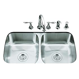 KOHLER K-3180-NA Undertone Double Equal Undercounter Kitchen Sink