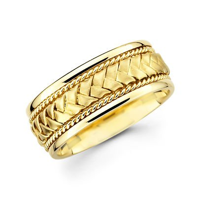 Solid 14k Yellow Gold Mens Braided Rope Design Wedding Ring Band 8MM Size 11