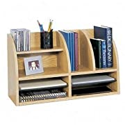 Safco Products Radius Front Desktop Organizer, 8 Compartment, Medium Oak, 9417MO